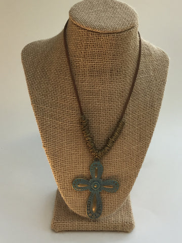 Patina Cross with Leather Necklace