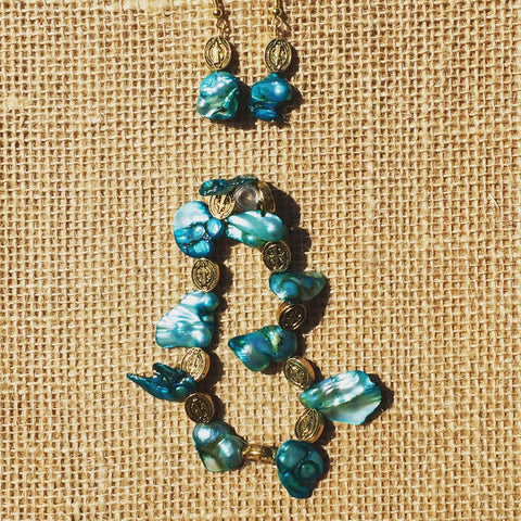 """St. Benedict's Pearls"" Turquoise and Gold Jewelry"