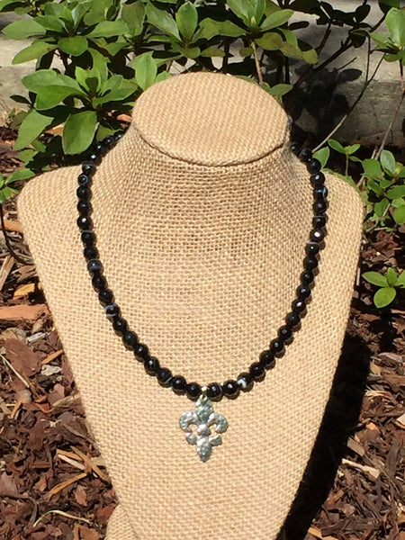 Banded Black Agate Fluer-de-Lis Necklace