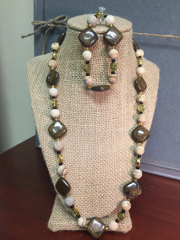 Bronzite and Picture Jasper necklace and bracelet set