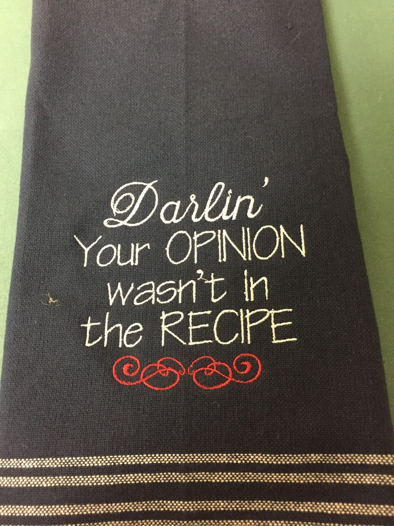"Navy Blue Kitchen Towel ""Darlin' Recipe"""