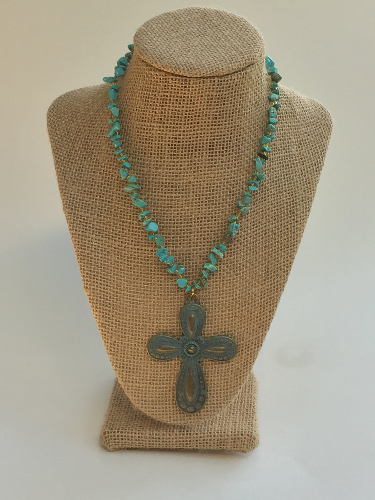 Turquoise Chips and Patina Cross Necklace