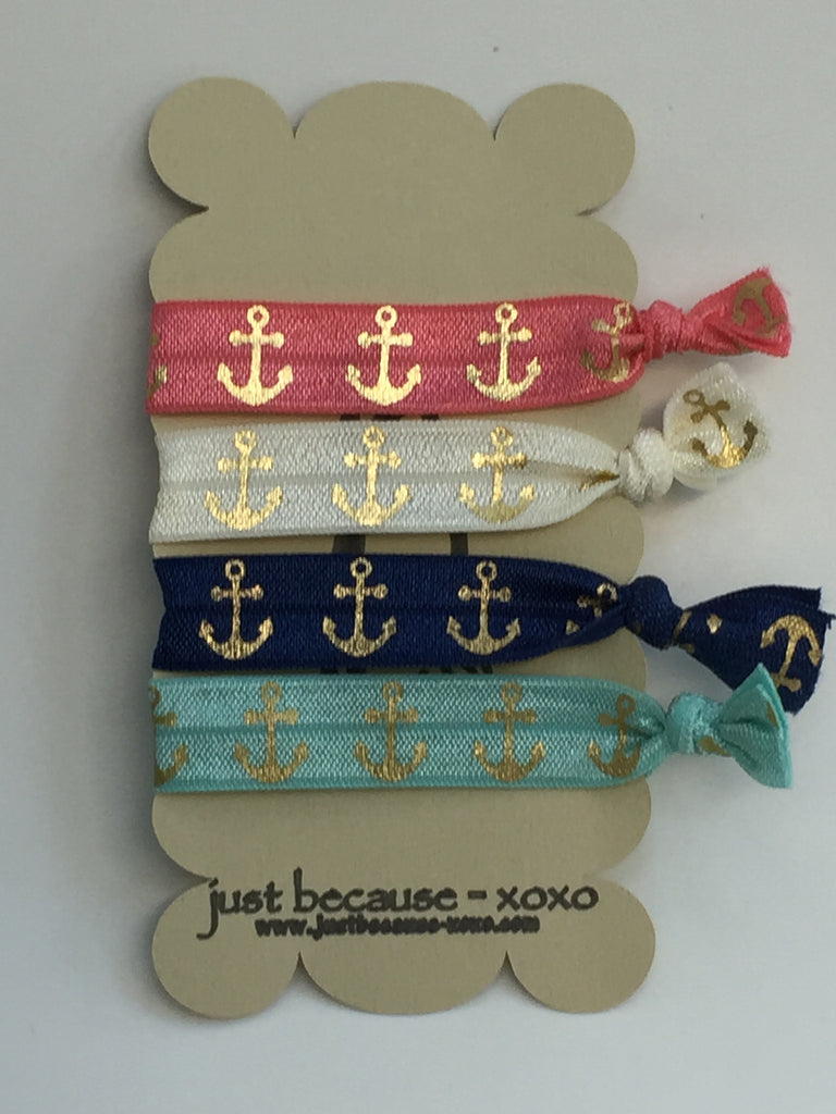 Multi Colored Anchor Hair Ties - 4 Styles