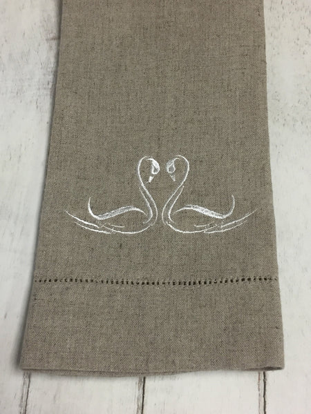 Personalized Wedding Gift - Gift for Couples - Swan Love Birds - Guest Bathroom Linens - Embroidered Bathroom Linens - Linen Hand Towels