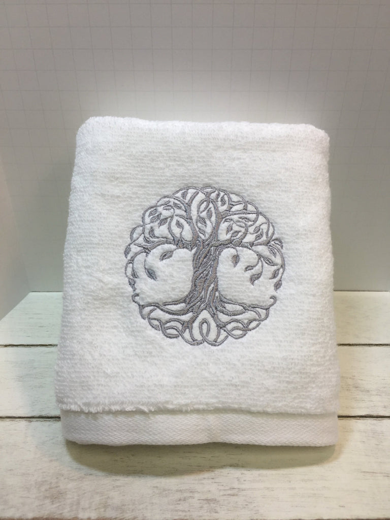 Wedding Gift - Tree Towel - Celtic Towel - Embroidered Towel - Embroidered Hand Towel - Tree of Life - Terry Cloth Towel - Housewarming Gift