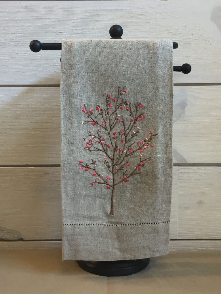 guest bathroom linens - embroidered linen hand towel - linen