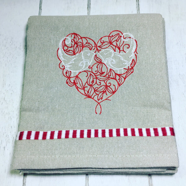 Wedding Gift - Love Birds - Embroidered Kitchen Towel - Customizable Wedding Gift - Embroidered Hand Towel - Gifts for Gardener