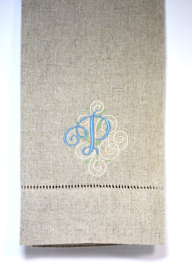 Personalized Monogrammed Towel - Swirly Font Monogram - Linen Bathroom Hand Towel - Single Letter Monogram - Hemstitched Linen