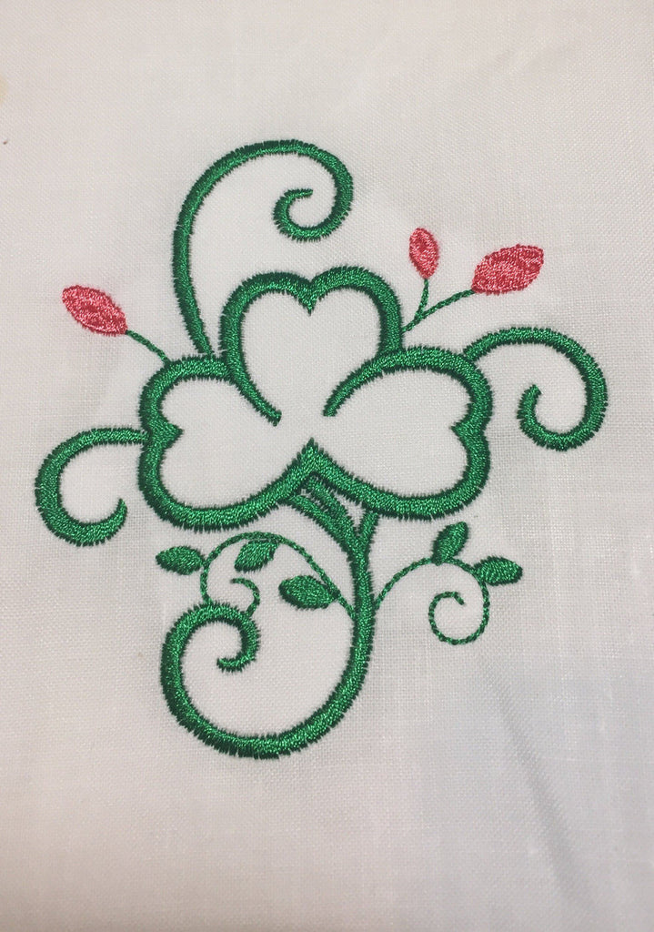 Shamrock Linen Hand Towel - Guest Hand Towels - Spring Guest Bathroom Hand Towels - Embroidered Shamrock Hand Towel - St. Patrick's Day