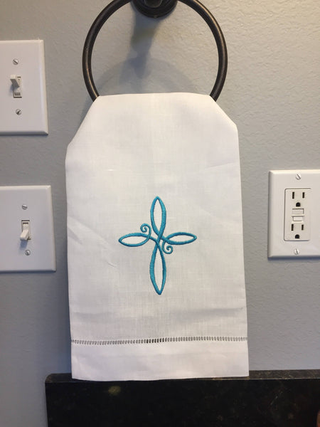 Easter Cross Linen Hand Towel