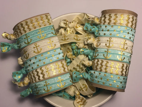 Cream and Teal Hair Ties