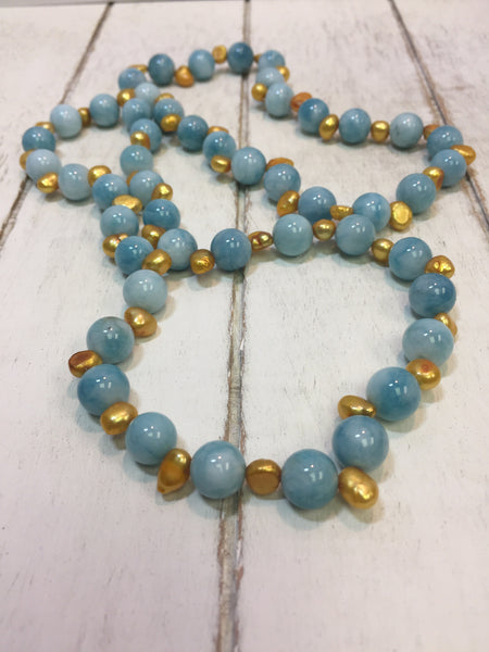 blue amazonite stone necklace gold pearls