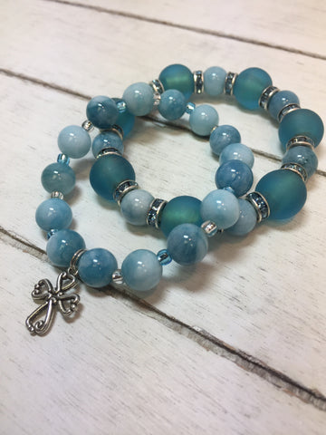blue amazonite stackable bracelet