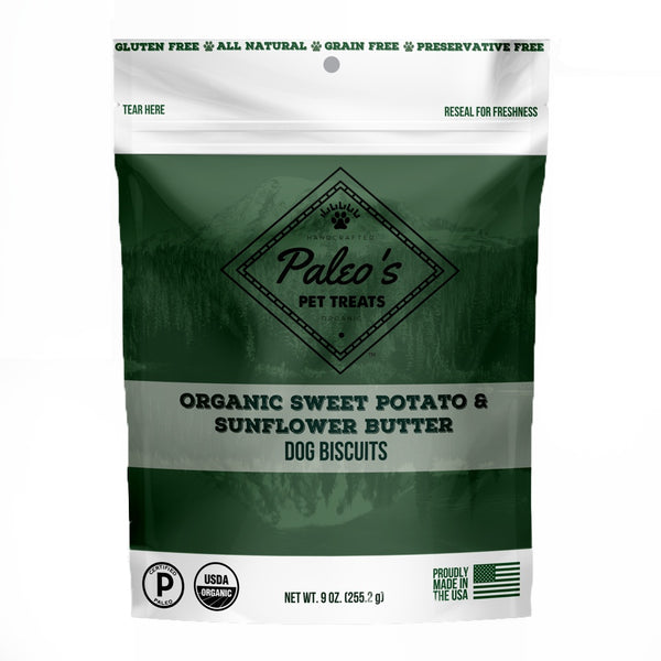 Paleo's Pet Treats Organic Sweet Potato & Sunflower Butter Dog Biscuits 9.0 oz. - Kanine Capital Online Farmer's Market for Dogs