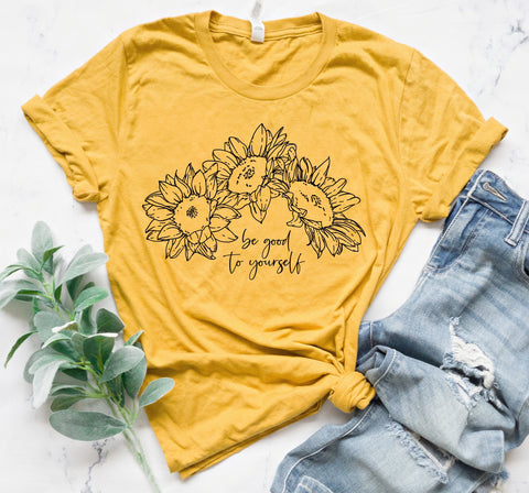 Be Good To Yourself Flowers Tee