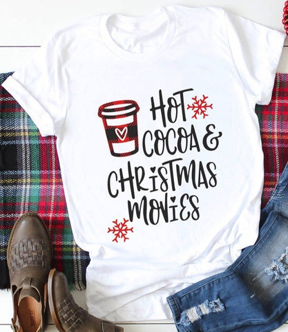 Hot Cocoa & Christmas Movies Tee