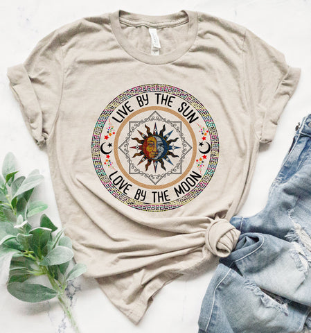 Live By The Sun Colorful Boho Tee