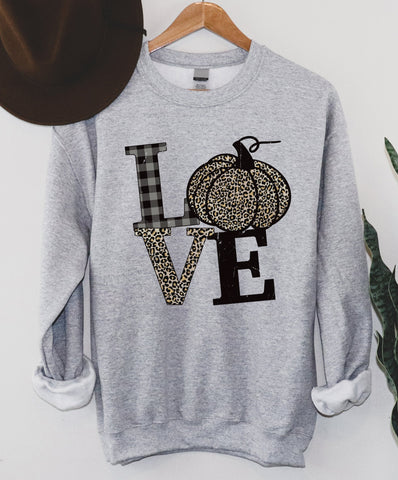 LOVE Leopard Pumpkin Sweatshirt