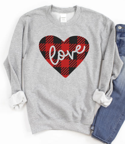 Love Plaid Heart Sweatshirt