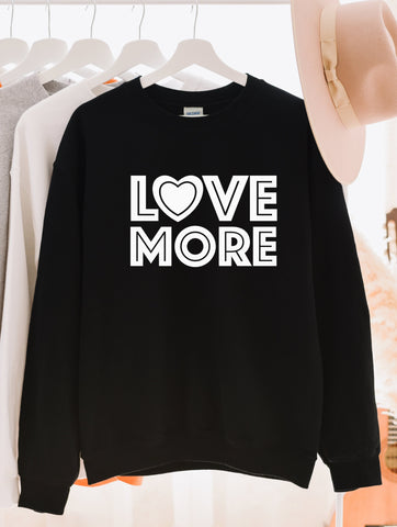 Love More White Print Sweatshirt