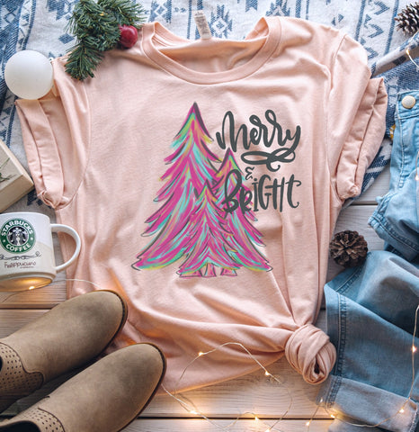 Merry & Bright Colorful Trees Tee