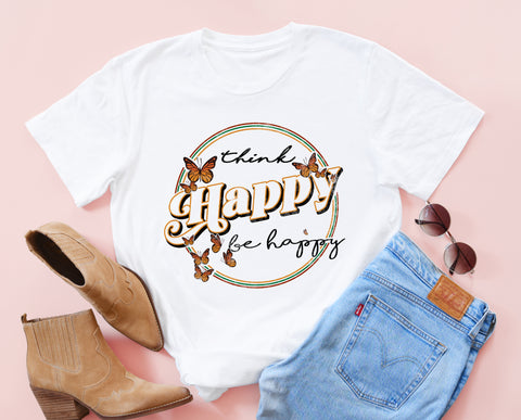Think Happy Butterly Tee