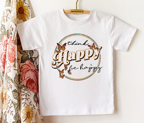 Think Happy Be Happy Butterflies Kids Tee/Bodysuit