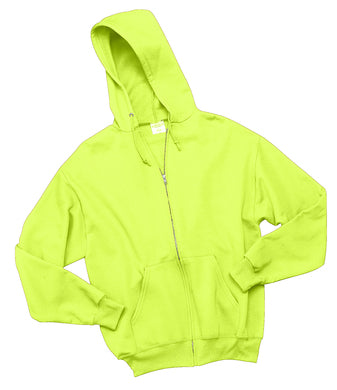 Safety Green full zip hooded sweatshirt