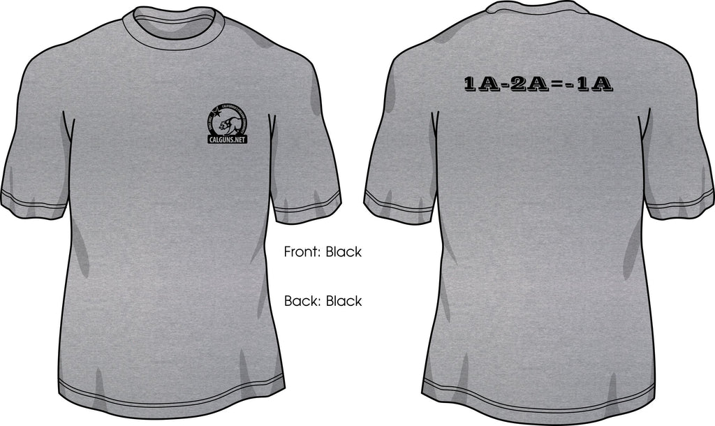 1A-2A= -1A T-shirt with Calguns.net logo