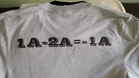 1A-2A= -1A T-shirt, chest is blank
