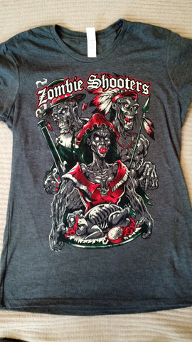 Ladies Zombie Shooters tri blen T-shirt