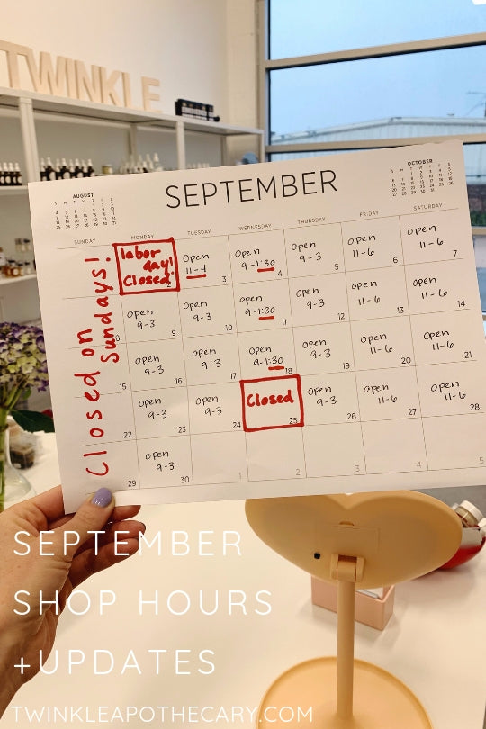 September Shop Hours + Updates