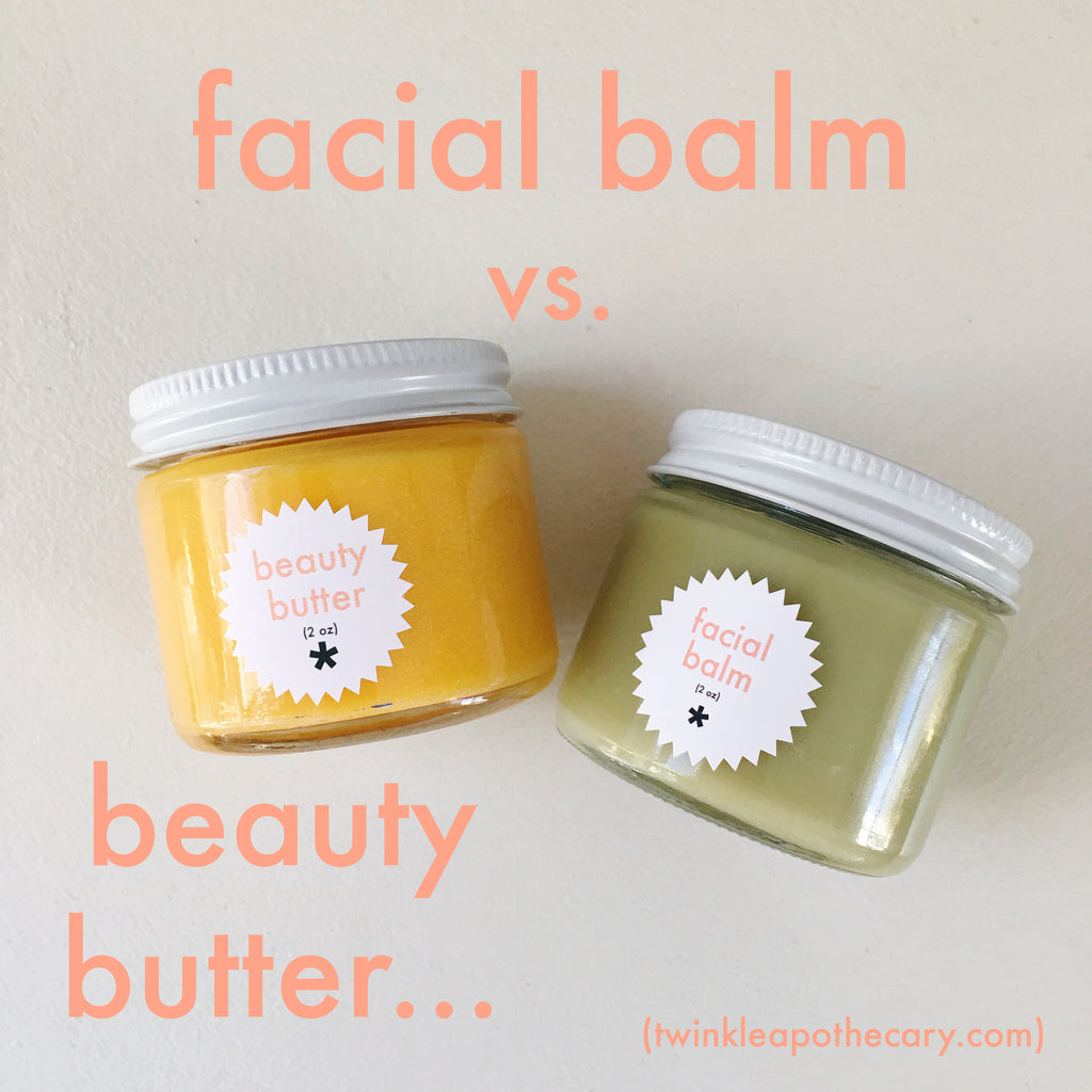 facial balm vs. beauty butter twinkle apothecary