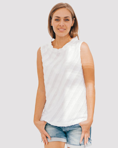 Girl wearing a fil coupe tank top
