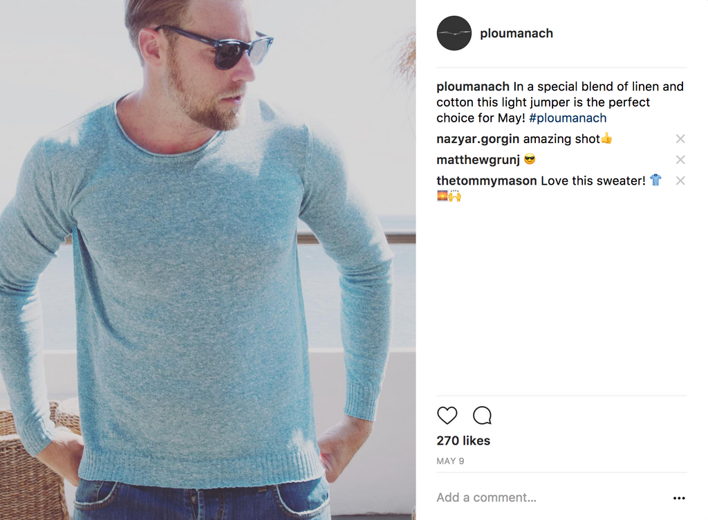 Man wearing a turquoise lightweight cotton and linen blend sweater from Ploumanac'h