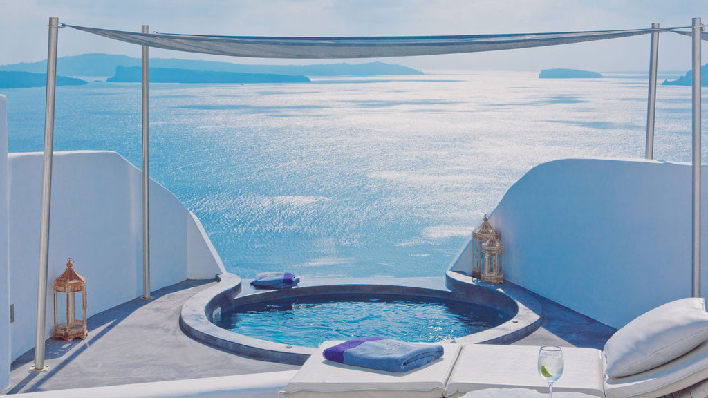 Beautiful view of greek islands from a resort balcony