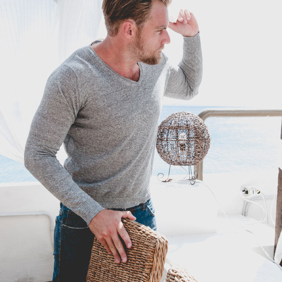 light grey sweater perfect for hawaii packing list