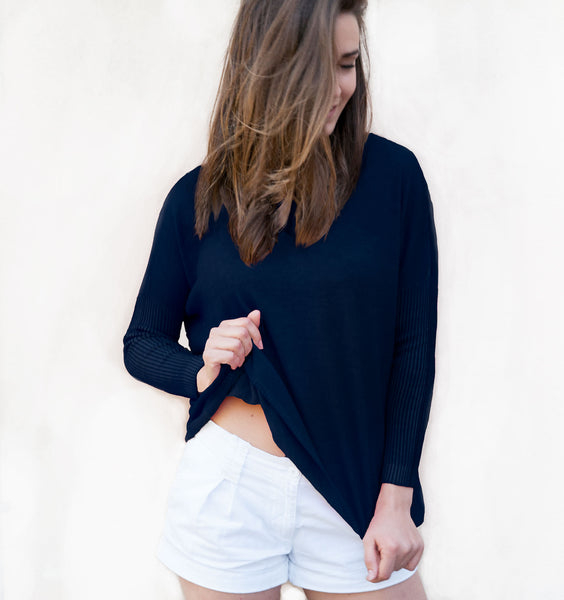 Navy cotton sweater for women