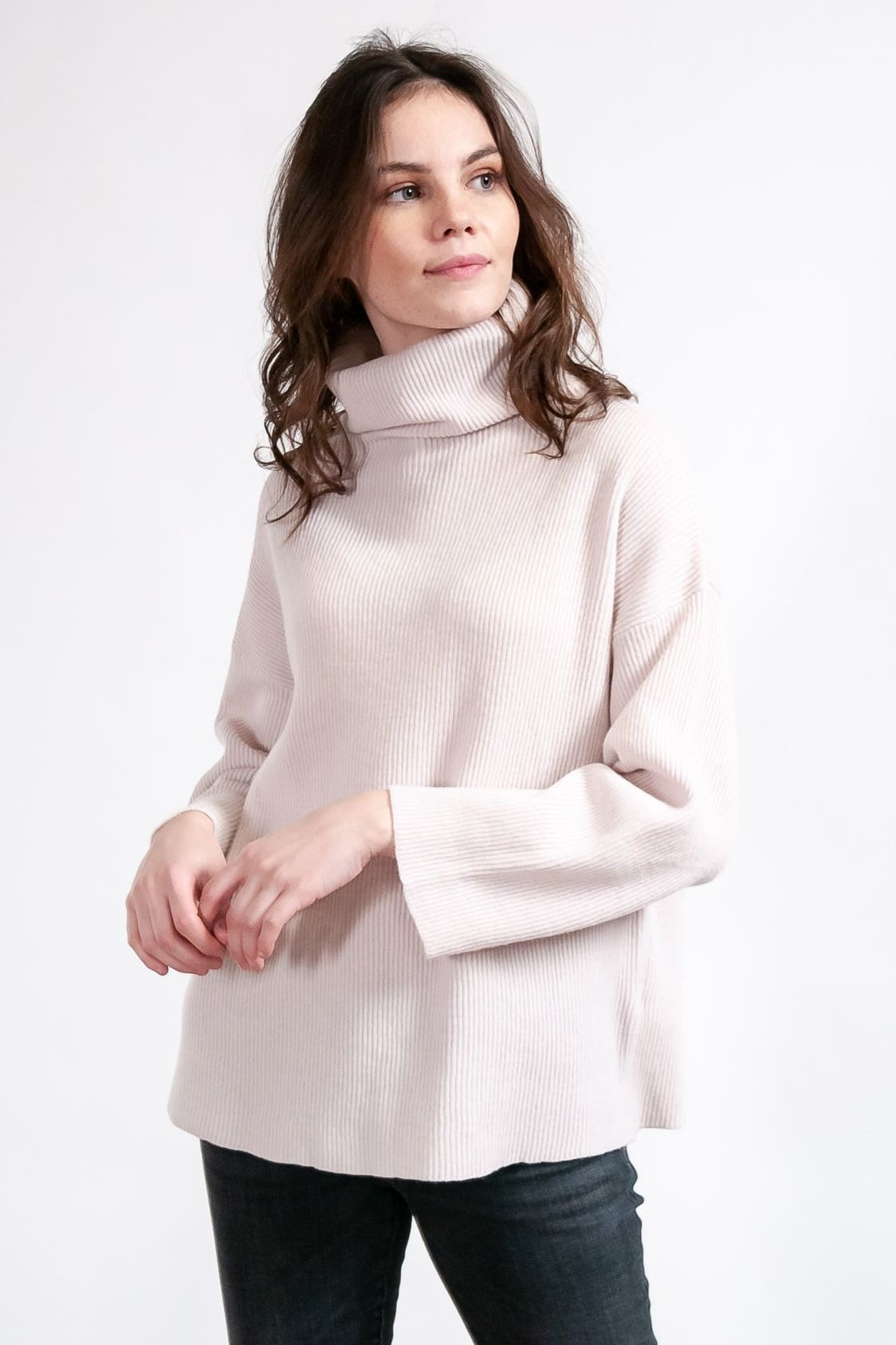 Brue - Slouchy Ribbed Turtleneck - Blush - Sweaters