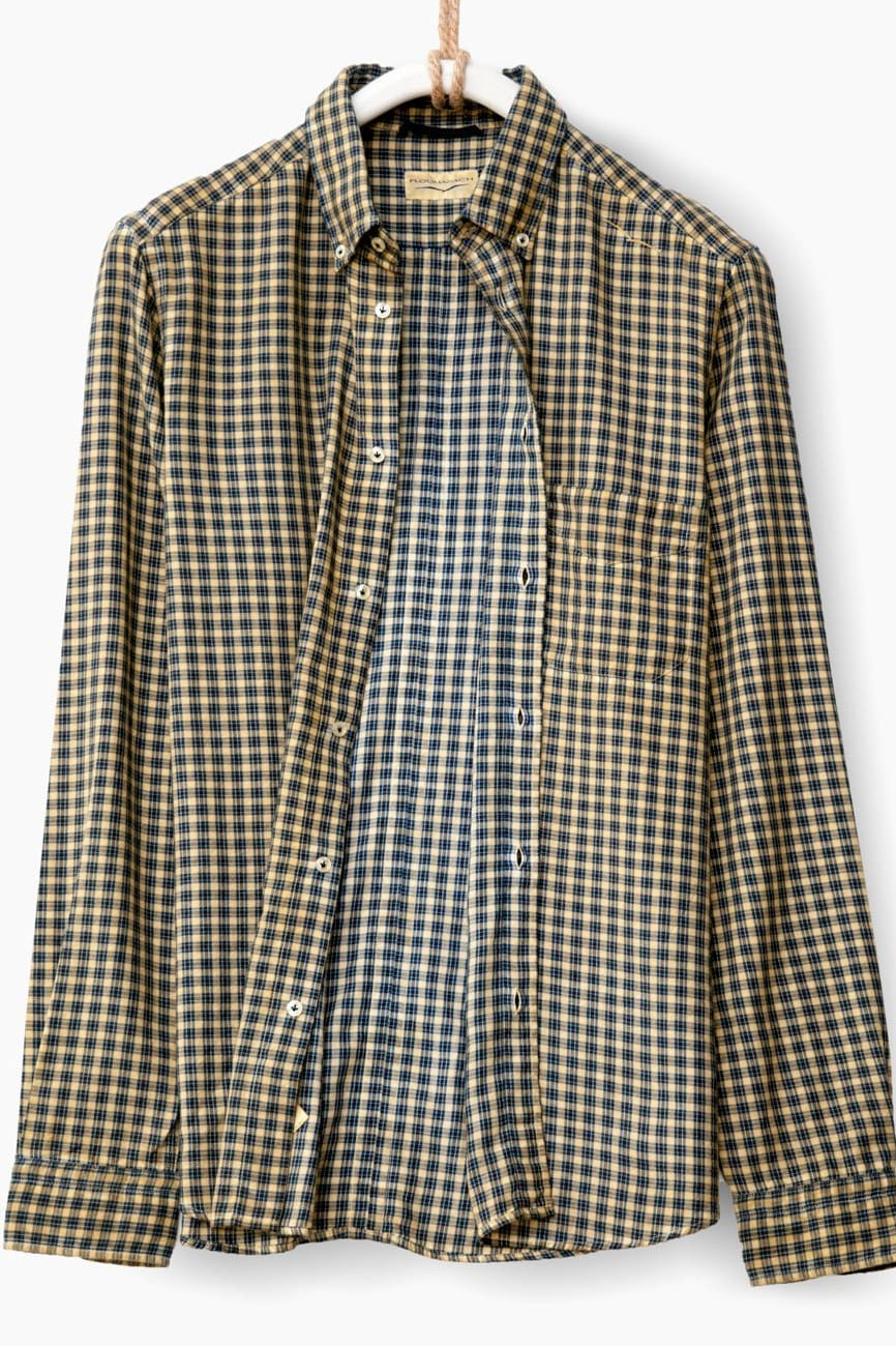 Brushed Flannel Shirt in Curry Yellow Plaid - Ploumanac'h