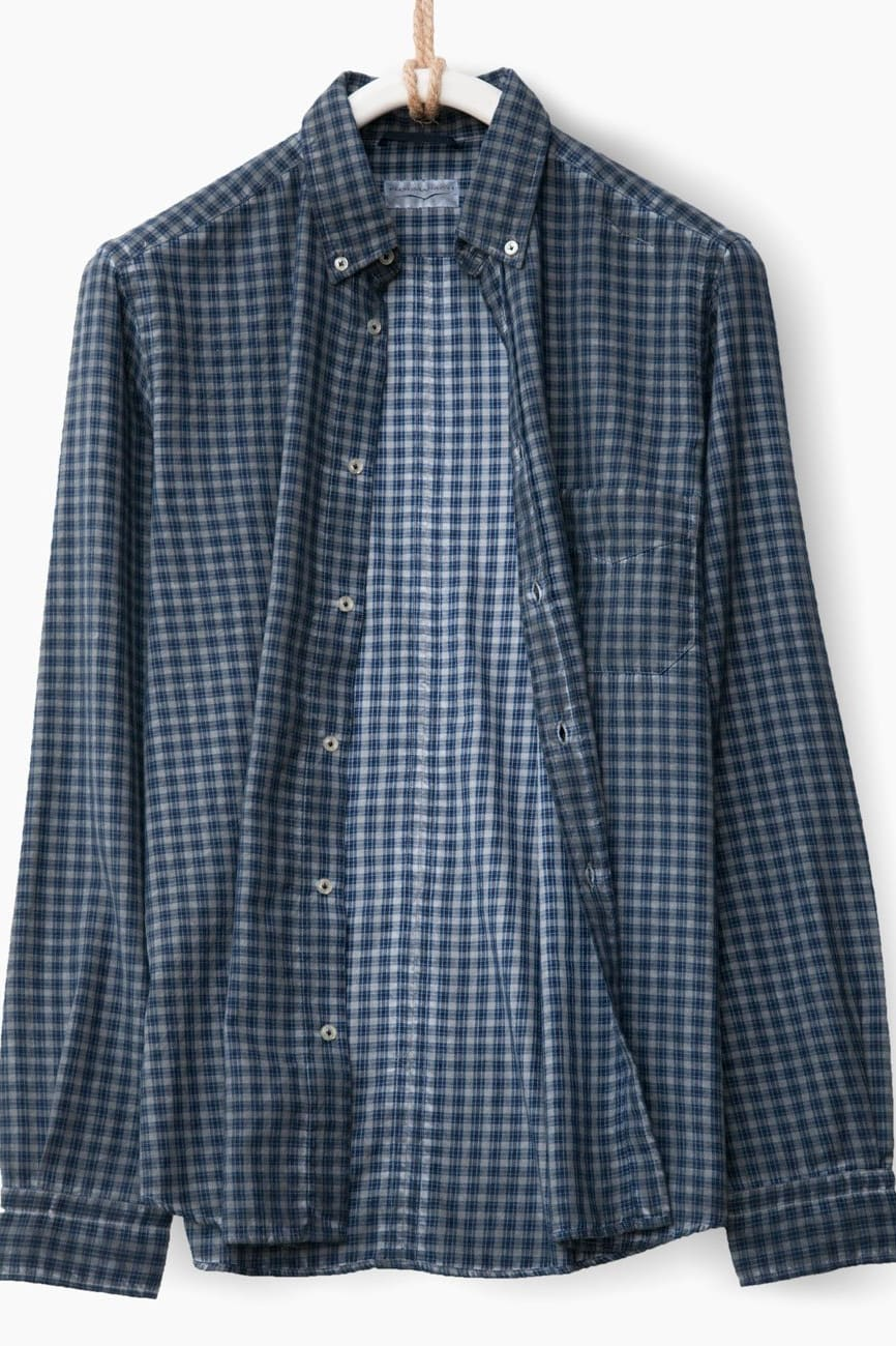 Brushed Flannel Shirt in Ferro Plaid - Ploumanac'h