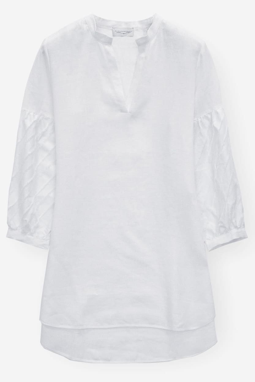 Caftan in Linen with Fil Coupé - Bianco - Shirts