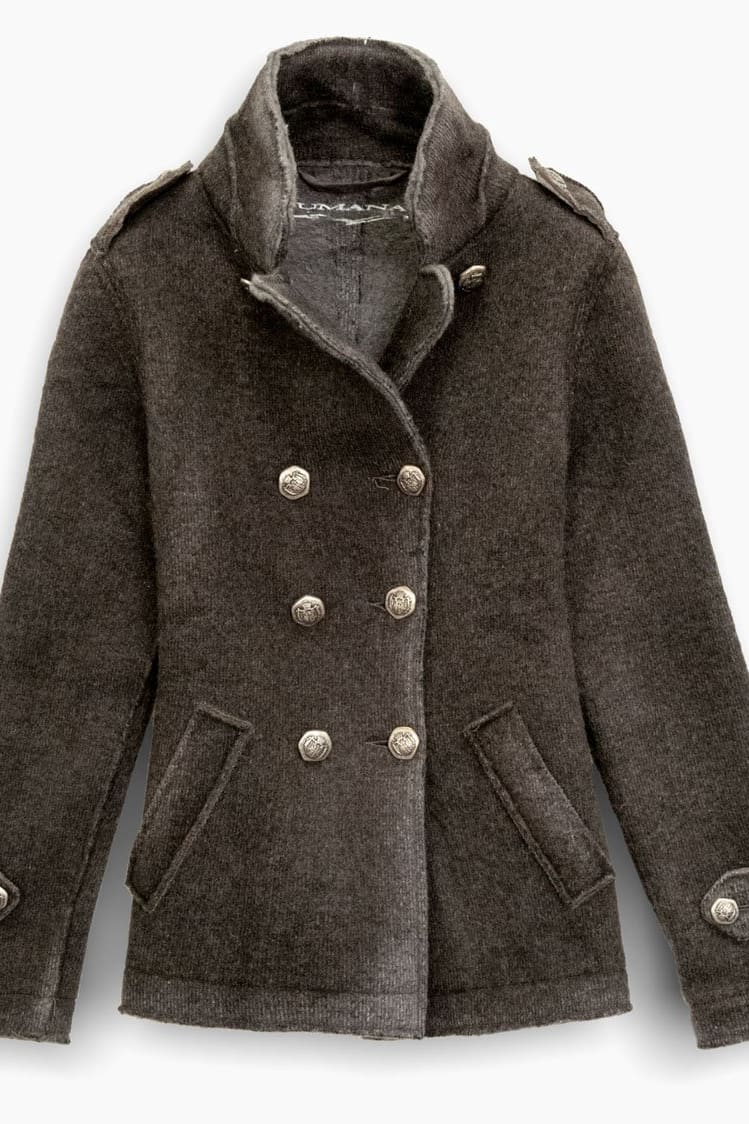 Dark Brown Wool Peacoat - Coats
