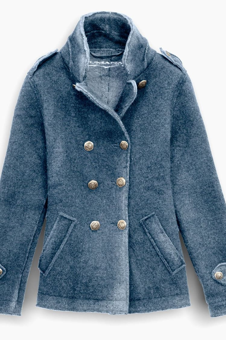 Denim Blue Wool Peacoat - Coats