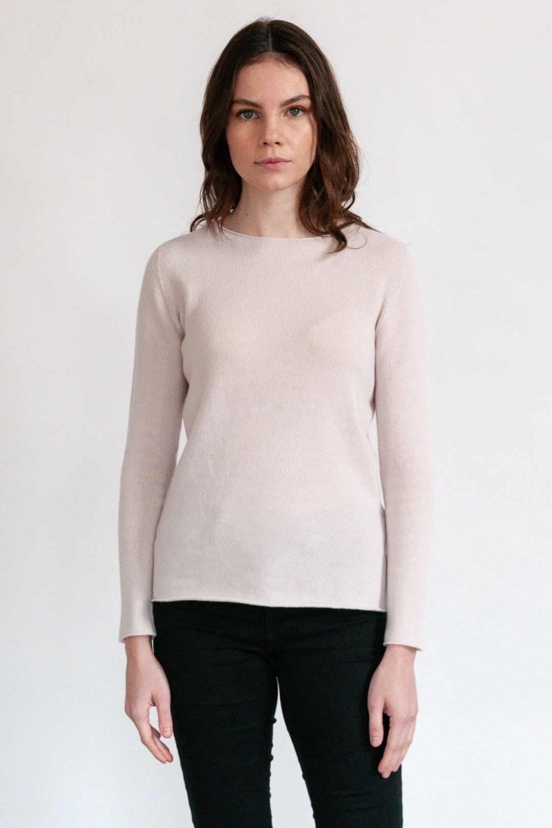 Gress - Slim Crew Neck Sweater - Blush - Sweaters