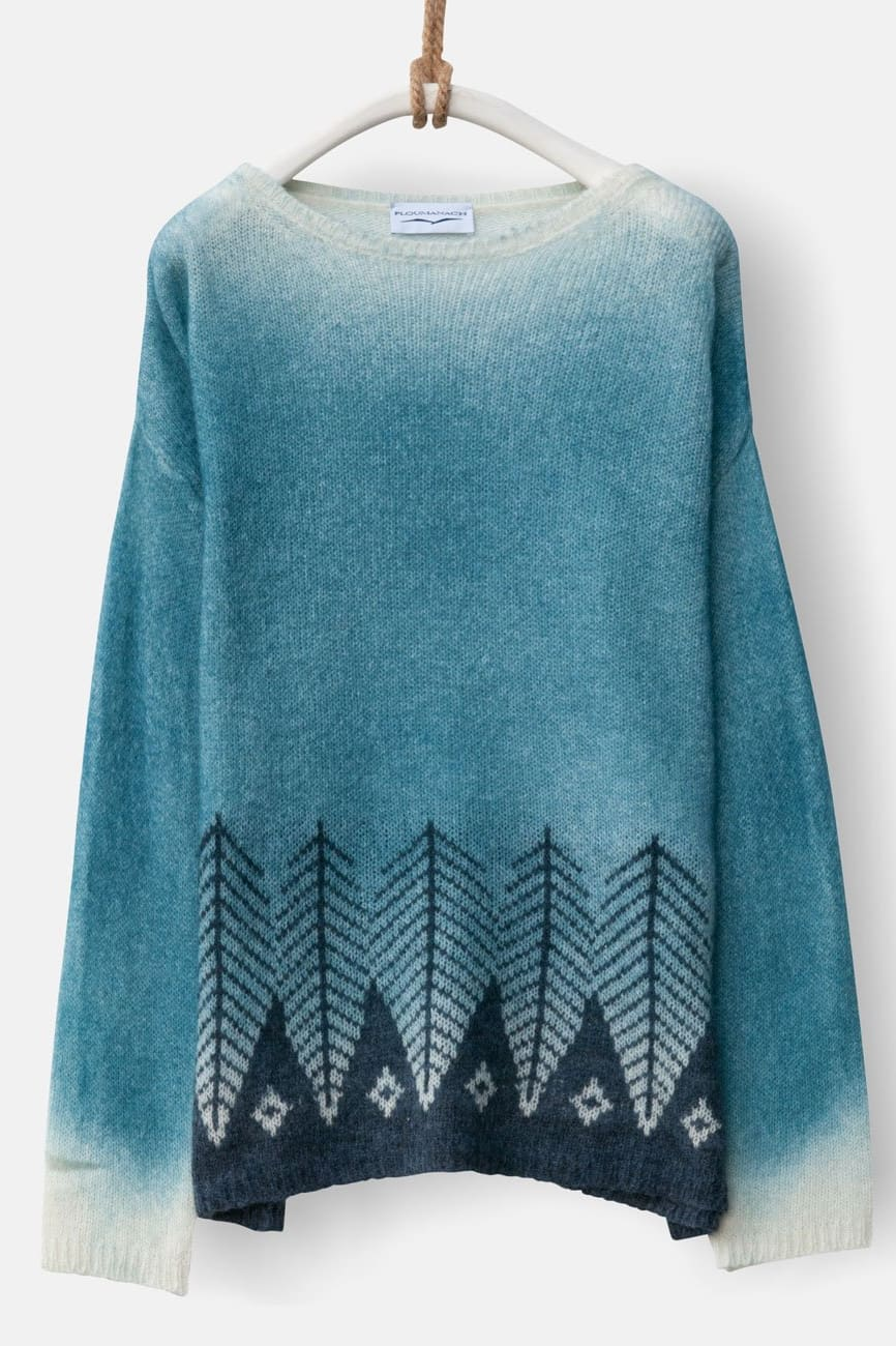 Jacquard Oversized Jumper in Blue and Peacock Green Alpaca Wool - Ploumanac'h