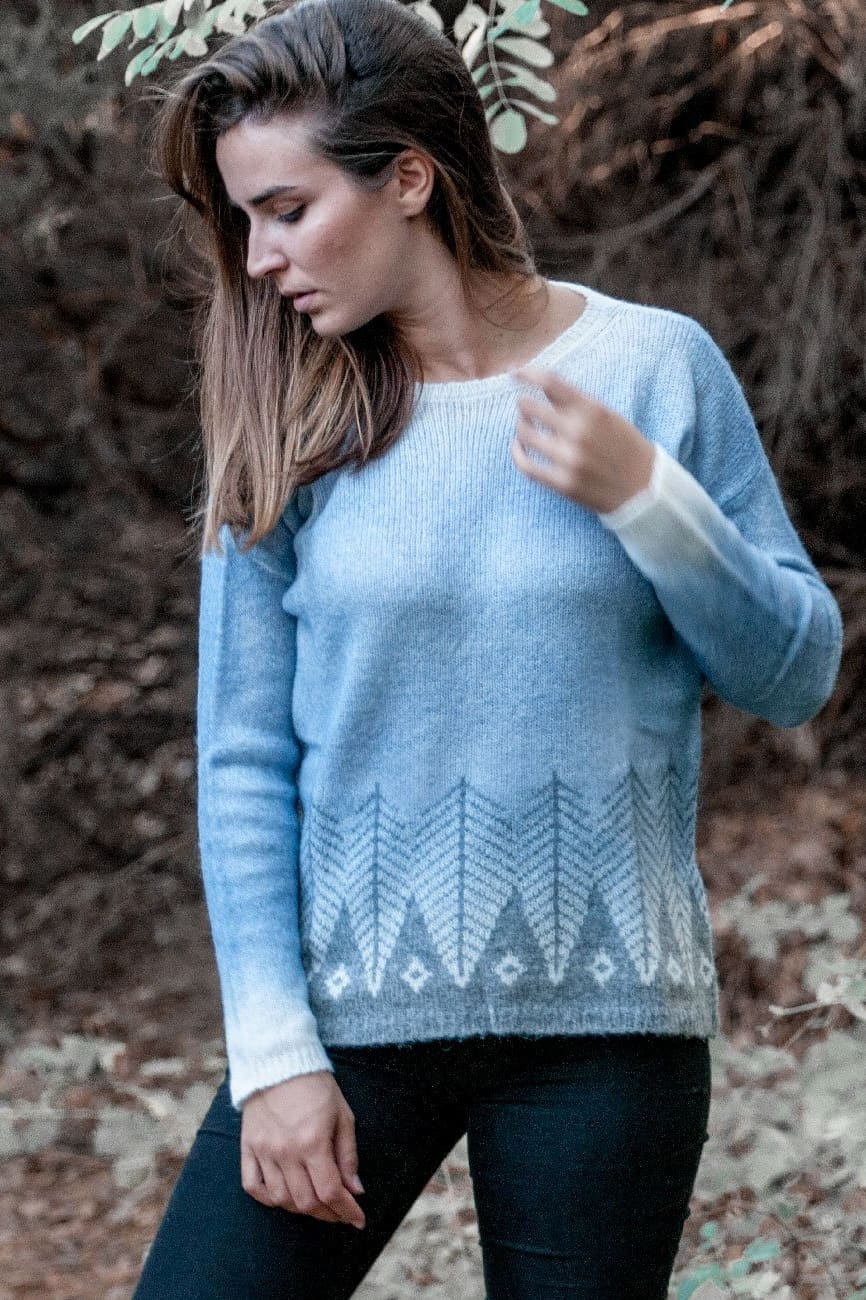 Jacquard Oversized Jumper in Grey and Blue Alpaca Wool - Ploumanac'h