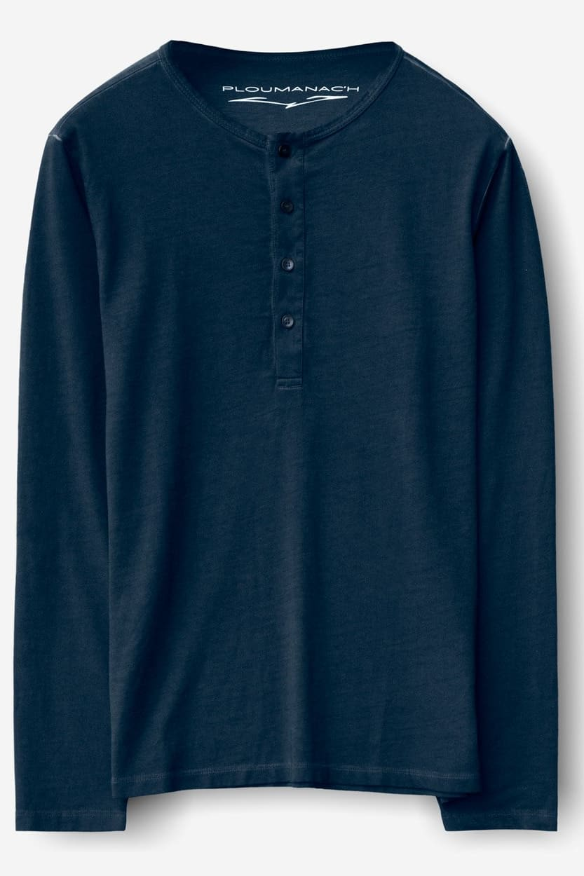 Long Sleeve Cotton Henley - Navy - T-Shirt