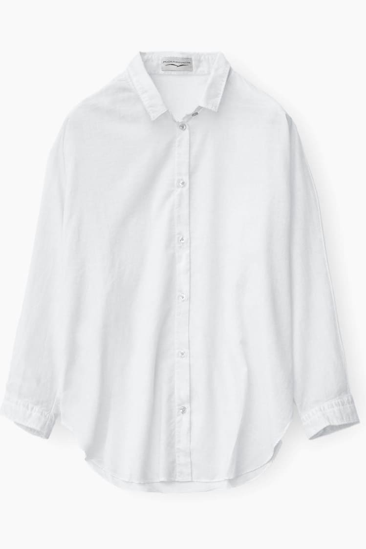 Loose Fit Stretch Poplin Blouse - White - Shirts