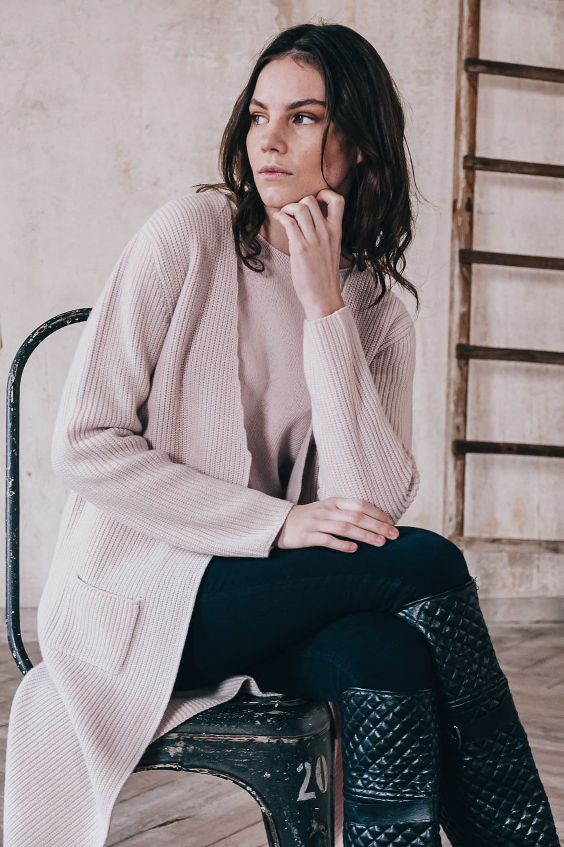 Ness - Long Cardigan in Merino Cashmere Blend - Blush -